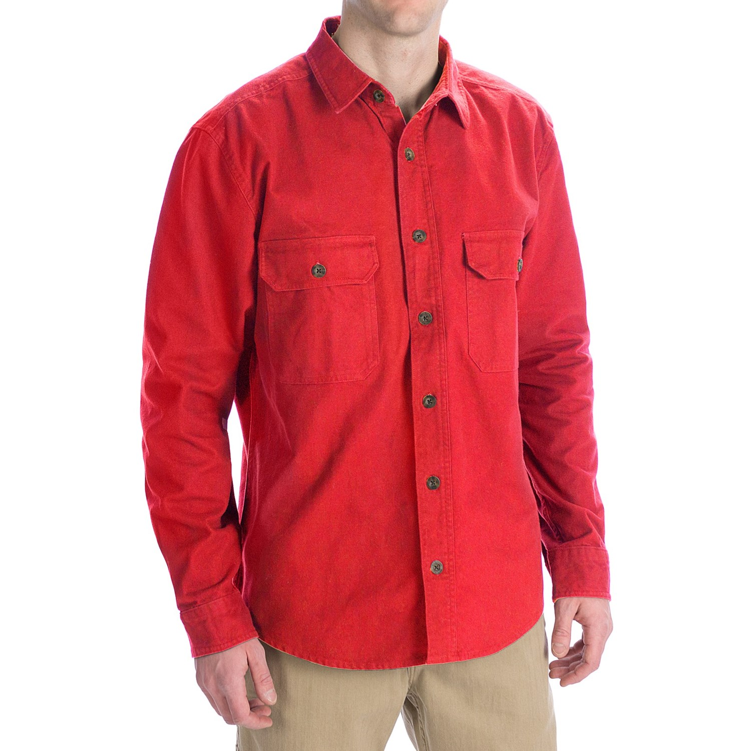 Woolrich Expedition Chamois Shirt - 9 oz. Cotton, Long ...
