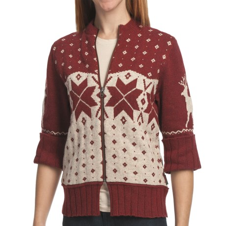 Woolrich Fair Isle Cardigan Sweater - 3/4 Sleeve, Zip Front (For Women) in Dark Ruby