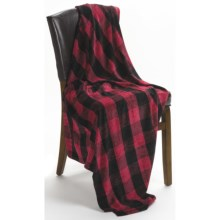 Woolrich Fern Glen Buffalo Plaid Throw Blanket - Chenille in Red/Black - Closeouts