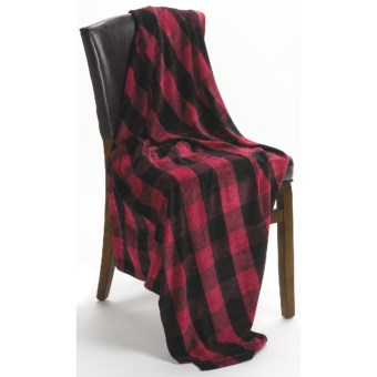 Woolrich Fern Glen Buffalo Plaid Throw Blanket - Chenille in Red/Black