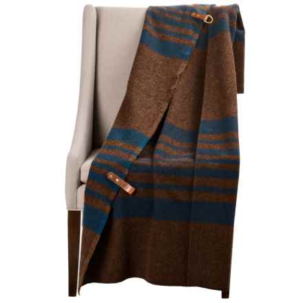 "Woolrich Fireside Wool Blanket Poncho - 35x70"" in Brown - Closeouts"