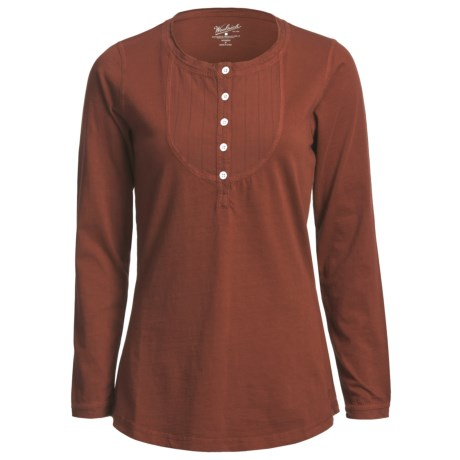 Woolrich First Fork Bib Henley Shirt - Cotton Jersey, Long Sleeve (For Women) in Deep Ruby
