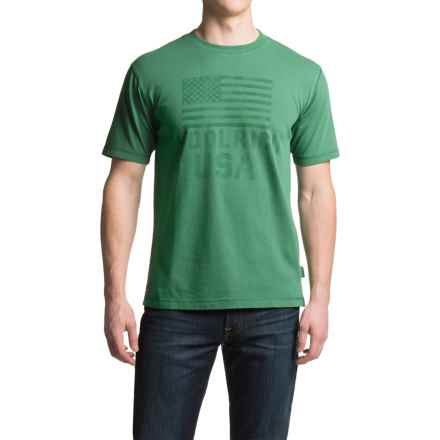 Woolrich First Forks Graphic T-Shirt - Short Sleeve (For Men) in Bottle Green - Closeouts