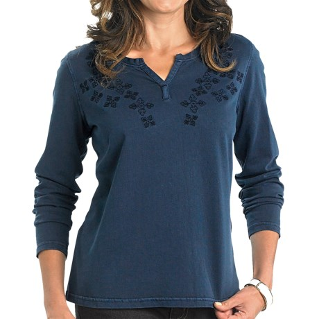 Woolrich First Forks Split Neck Embroidered Shirt Long Sleeve For Women
