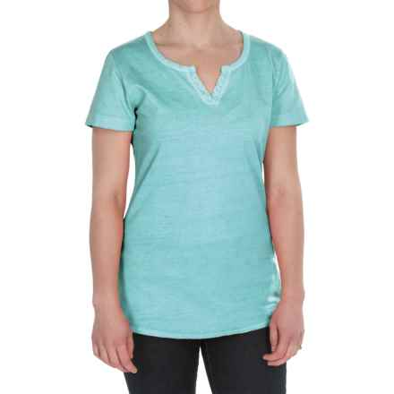 Woolrich First Forks Split-Neck Henley Shirt - Short Sleeve (For Women) in Aqua - Closeouts