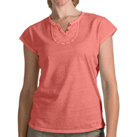 Woolrich First Forks V-Neck Henley Shirt - Short Sleeve (For Women) in Sea Salt