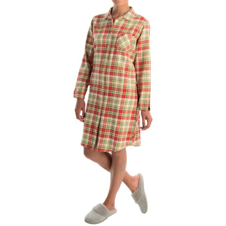 Woolrich First Light Flannel Nightshirt - Long Sleeve (For Women) in Hot Guava Plaid