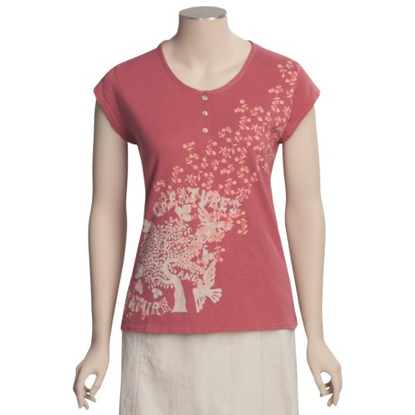 Woolrich Fisher Island T-Shirt - Cotton Slub Jersey, Short Sleeve (For Women) in Soft Ruby