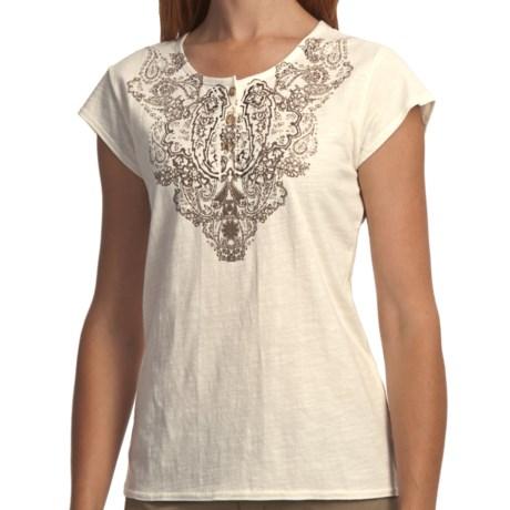 Woolrich Fisher Island T-Shirt - Slub Cotton, Short Sleeve (For Women) in Ecru