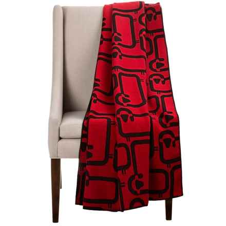 "Woolrich Flock of Sheep Wool Jacquard Throw Blanket - 50x70"" in Old Red - Closeouts"