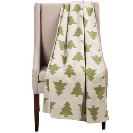 "Woolrich Forest Glen Soft Wool Throw Blanket - 50x70"" in Ivory/Green Forest - Closeouts"