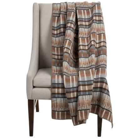 "Woolrich Forest Ridge Wearable Throw Blanket/Poncho - 50x70"", Wool Blend in Stone Trees - Closeouts"