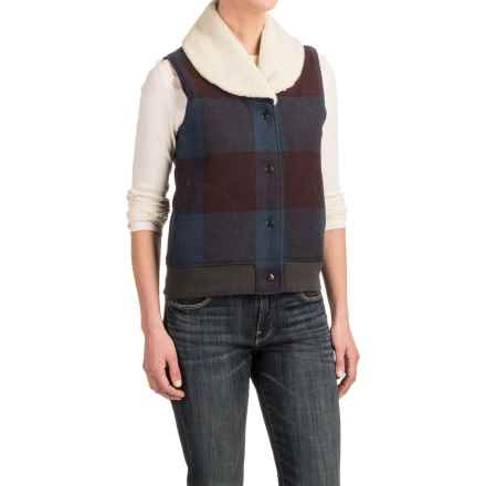 Woolrich Giant Buffalo Wool Vest - Insulated, Sherpa Collar (For Women) in Burgundy - Closeouts
