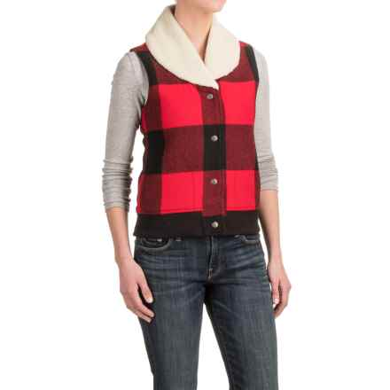 Woolrich Giant Buffalo Wool Vest - Insulated, Sherpa Collar (For Women) in Old Red - Closeouts