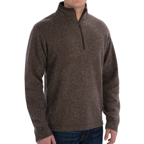 Woolrich Granite Springs Sweater - Zip Neck, Lambswool (For Men) in Bark Heather