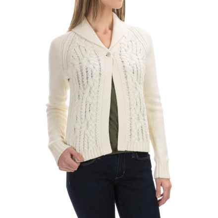 Woolrich Hannah Short Cable Cardigan Sweater (For Women) in Wool Cream - Closeouts