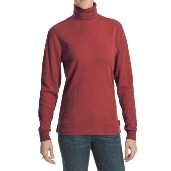 Woolrich Heathered Turtleneck - Interlock Cotton, Long Sleeve (For Women) in Ruby Heather