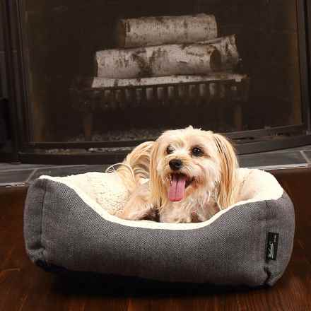 "Woolrich Herringbone Cuddler Dog Bed - 20x18"" in Black/Dark Grey - Closeouts"
