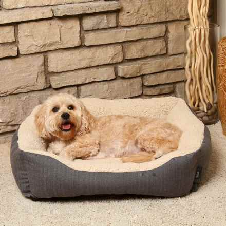 "Woolrich Herringbone Cuddler Dog Bed - 28x23"" in Black/Dark Grey - Closeouts"