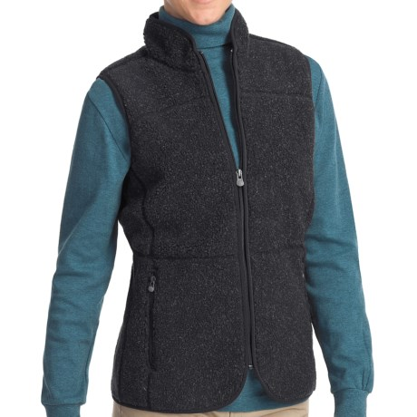 Woolrich High Point Vest - Berber Fleece (For Women) in Dark Roast Heather