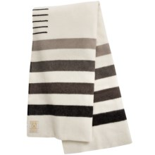 Woolrich Hudson's Bay 8 Point Wool Blanket - King in Natural / Brown Stripes - Closeouts