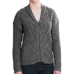 Woolrich Interlaken Cardigan Sweater - Full Zip (For Women) in Black Marl