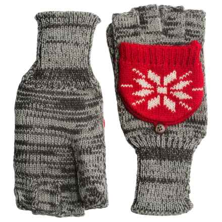 Woolrich Jacquard Popover Glomits Gloves - Fingerless (For Women) in Gray Heather - Closeouts