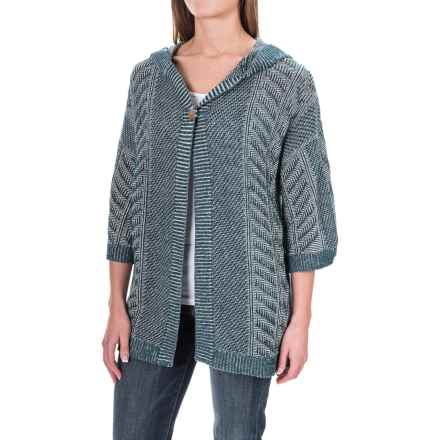 Woolrich Katie Bird Hooded Cardigan Sweater - Elbow Sleeve (For Women) in Harbor Multi - Closeouts