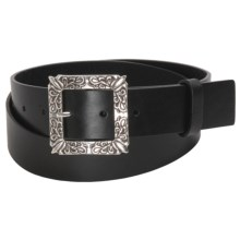 Woolrich Katy Belt - Floral Buckle, Leather (For Women) in Black - Closeouts