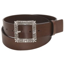 Woolrich Katy Belt - Floral Buckle, Leather (For Women) in Brown - Closeouts