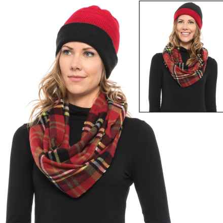 Woolrich Knit Beanie and Flannel Scarf Set (For Women) in Black - Closeouts