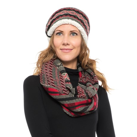 Woolrich Knit Headband and Infinity Scarf Set (For Women) in Dark Grey/Black/Red Multi