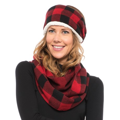 Woolrich Knit Headband and Infinity Scarf Set (For Women) in Red/Black Check