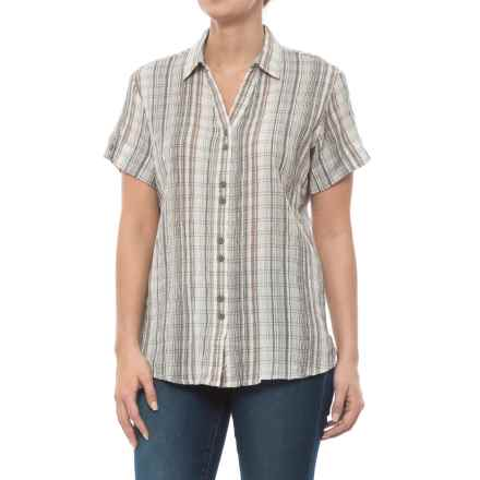 Woolrich Lake Hailey Seersucker Plaid Shirt - Short Sleeve (For Women) in Ecru - Closeouts
