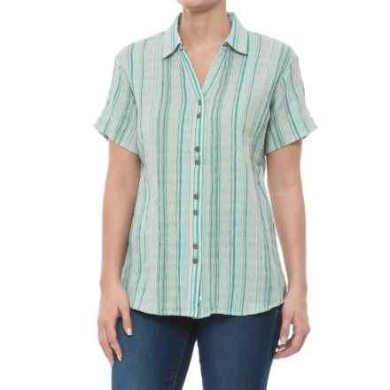 Woolrich Lake Hailey Seersucker Plaid Shirt - Short Sleeve (For Women) in Robins Egg - Closeouts