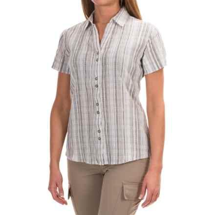 Woolrich Lakeside Plaid Shirt - Short Sleeve (For Women) in Sea Salt - Closeouts