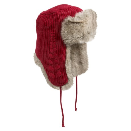 Woolrich Leaf Knit Aviator Hat - Faux-Fur Lining (For Men and Women) in Ruby