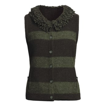 Woolrich Levona Stripe Vest - Lambswool (For Women) in Dark Loden