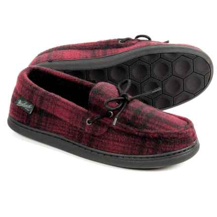 Woolrich Lewisburg Moccasins (For Men) in Red Hunting Plaid Fleece - Closeouts