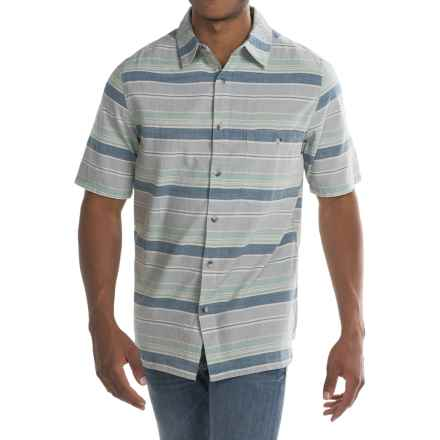 Woolrich Lost Lake Chambray Stripe Shirt - Short Sleeve (For Men) in Coastal Grey - Closeouts
