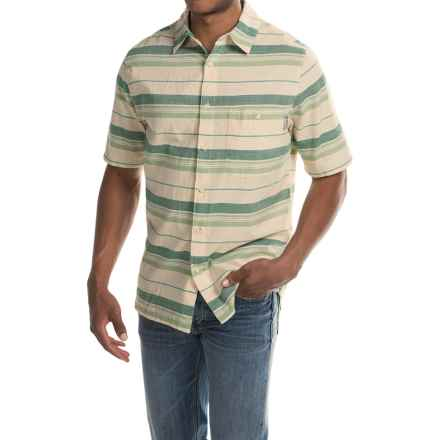 Woolrich Lost Lake Chambray Stripe Shirt - Short Sleeve (For Men) in Lichen - Closeouts