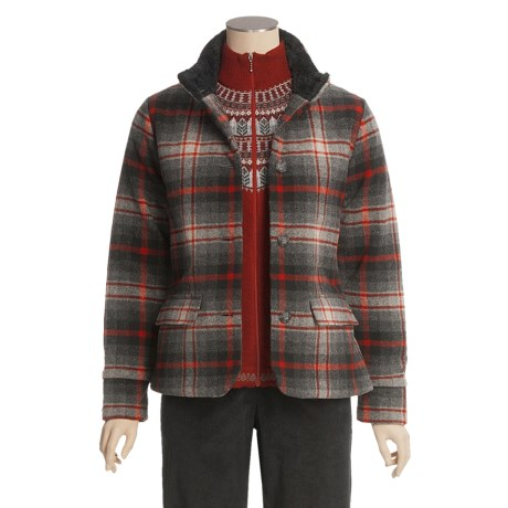 Woolrich Maple Run Coat - Wool, Insulated (For Women) in Black Plaid