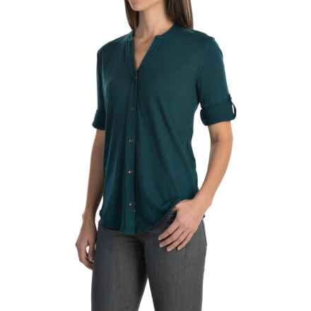 Woolrich Meadowlark Shirt - Roll-Up Long Sleeve (For Women) in Harbor - Closeouts