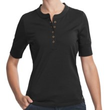 Woolrich Merino Wool Henley Shirt - UPF 40+, Short Sleeve (For Women) in Black - Closeouts