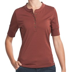 Woolrich Merino Wool Henley Shirt - UPF 40+, Short Sleeve (For Women) in Light Raisin
