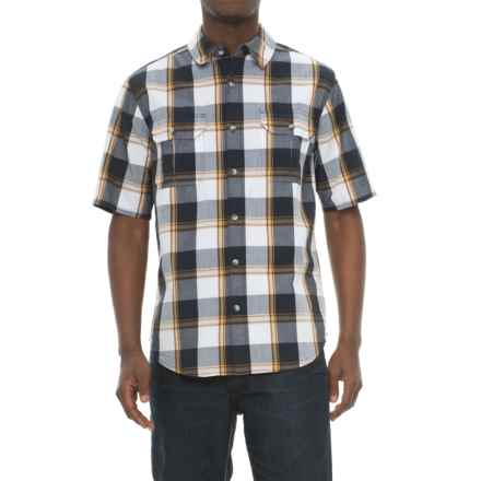 Woolrich Midway Yarn-Dye Shirt - Short Sleeve (For Men) in Deep Indigo Plaid - Closeouts