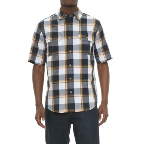 Woolrich Midway Yarn-Dye Shirt - Short Sleeve (For Men) in Deep Indigo Plaid
