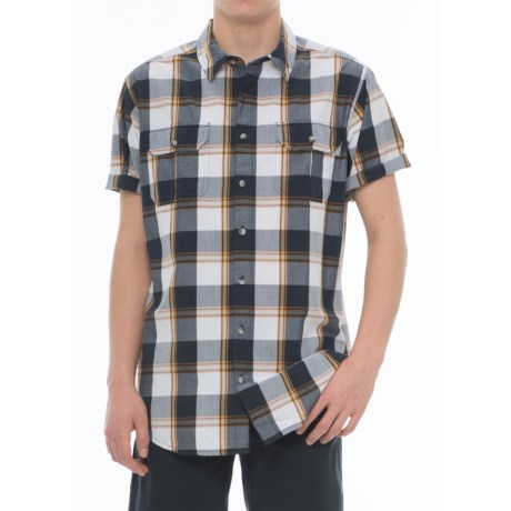 Woolrich Midway Yarn-Dyed Shirt - Short Sleeve (For Men) in Deep Indigo Plaid