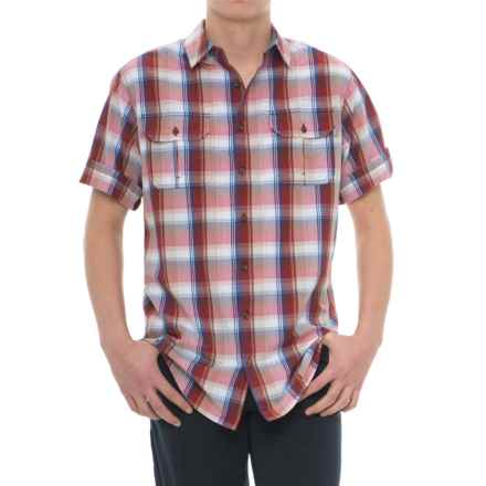 Woolrich Midway Yarn-Dyed Shirt - Short Sleeve (For Men) in Old Red - Closeouts