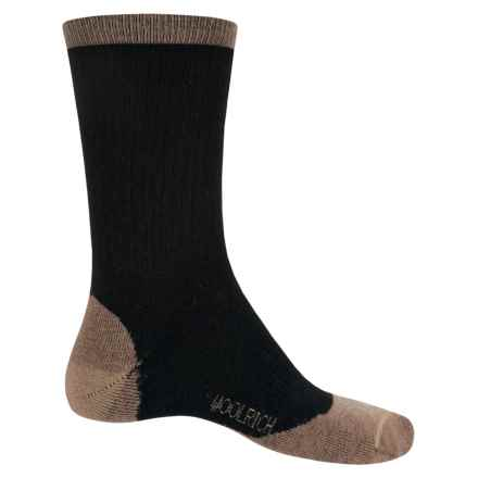Woolrich Midweight Hike Socks - Merino Wool, Crew (For Men) in Black/Tan - Closeouts